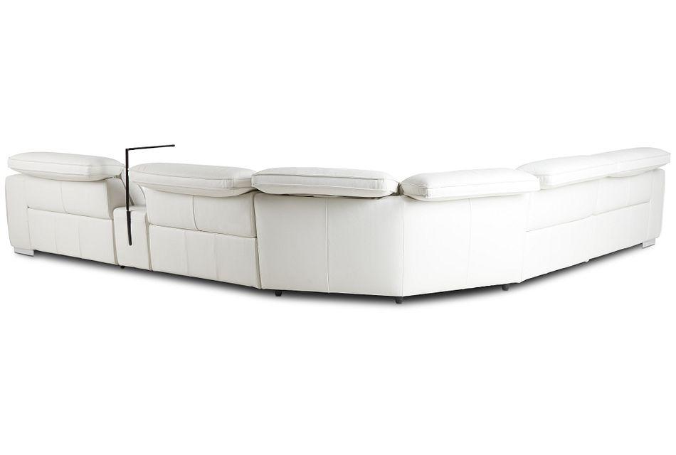 Reva White Leather Medium Dual Power 2-arm Reclining Sectional