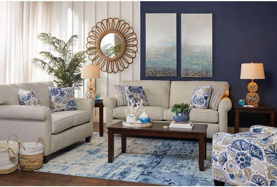 Waterflower Blue Fabric Accent Chair