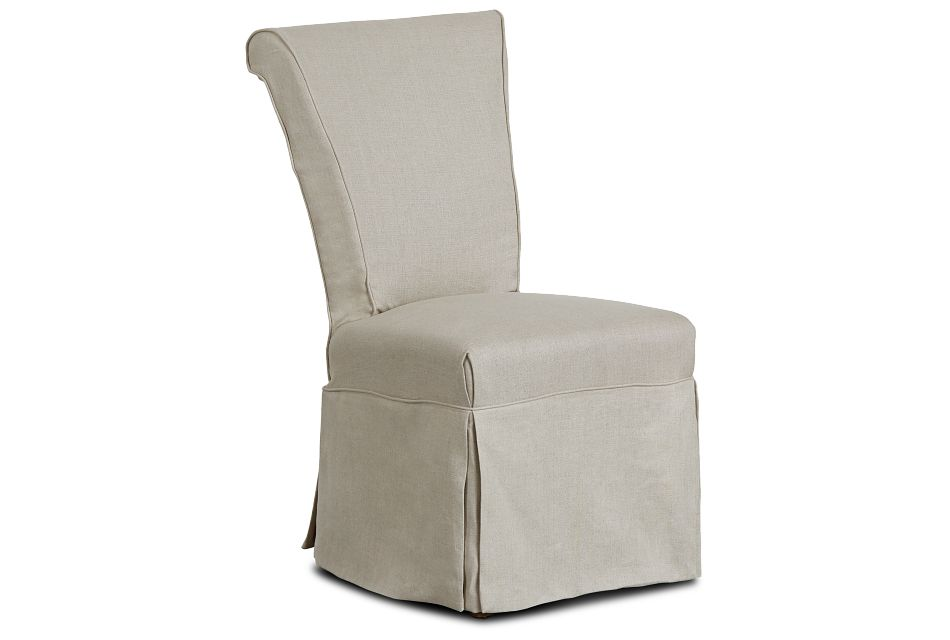Haddie Beige Skirted Side Chair