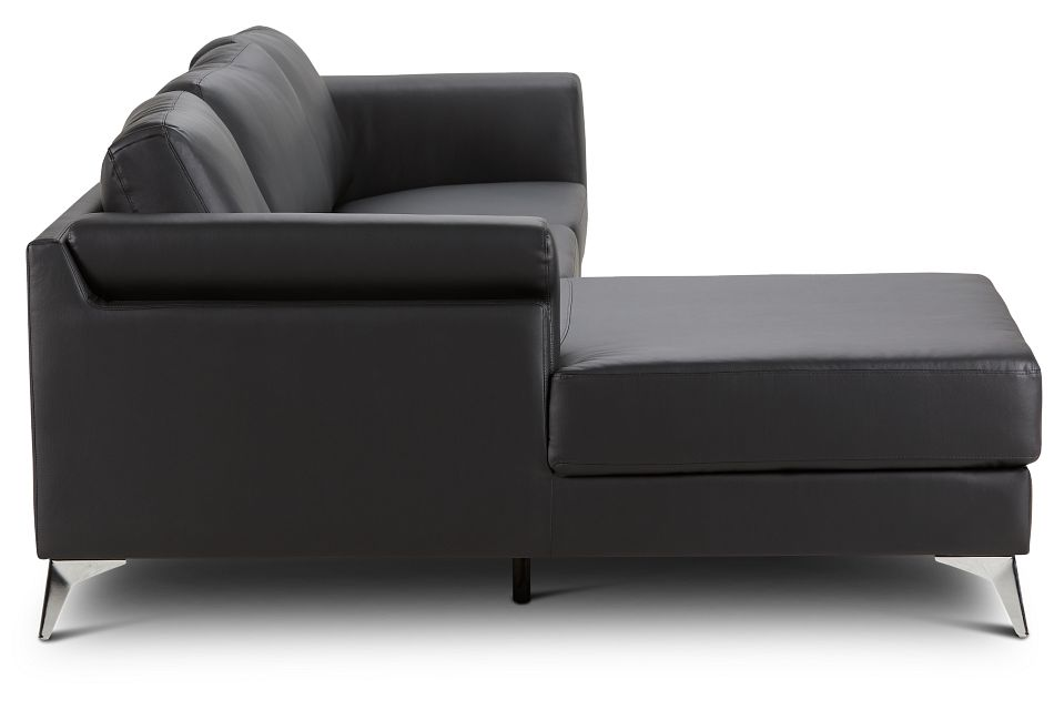 Gianna Black Micro Left Chaise Sectional, %%bed_Size%% (2)