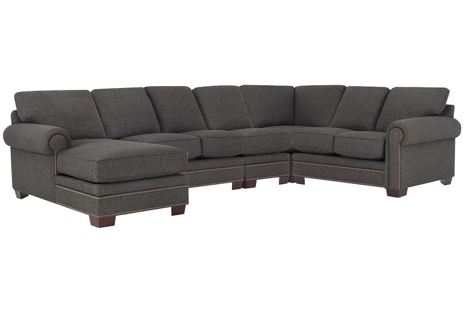 Foster Dark Brown Fabric Large Left Chaise Sectional