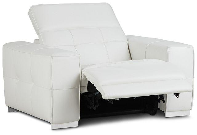 Reva White Leather Power Recliner With Power Headrest (2)