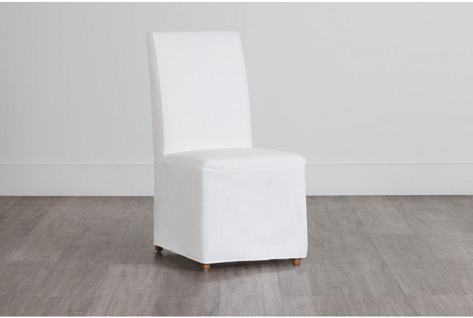 Destination White Long Slipcover Chair With Light Tone Leg,  (0)
