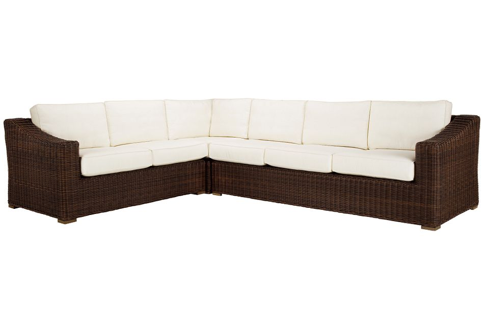 Canyon Dark Brown White Medium Right Sectional