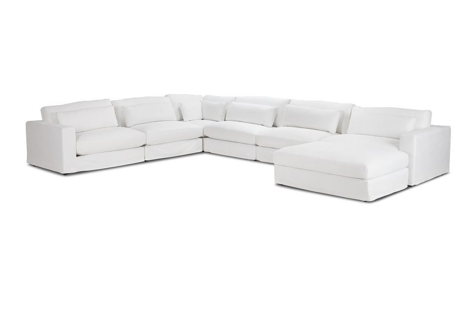 Cozumel White Fabric 7-piece Chaise Sectional