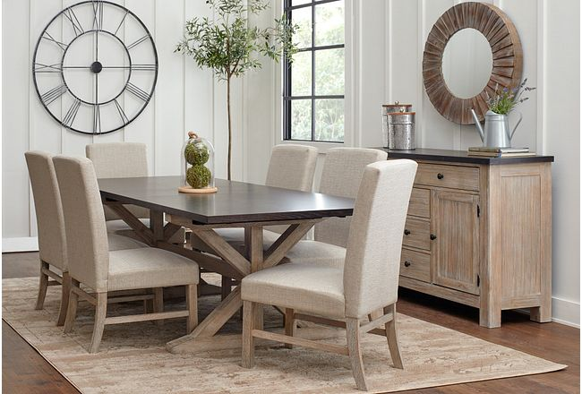 Jefferson Two-tone Table & 4 Upholstered Chairs