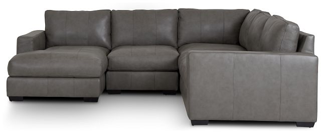 Dawkins Gray Leather Medium Left Chaise Sectional (2)