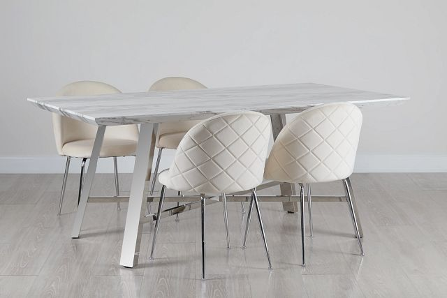 Capri Stainless Steel Ivory Rectangular Table & 4 Upholstered Chairs