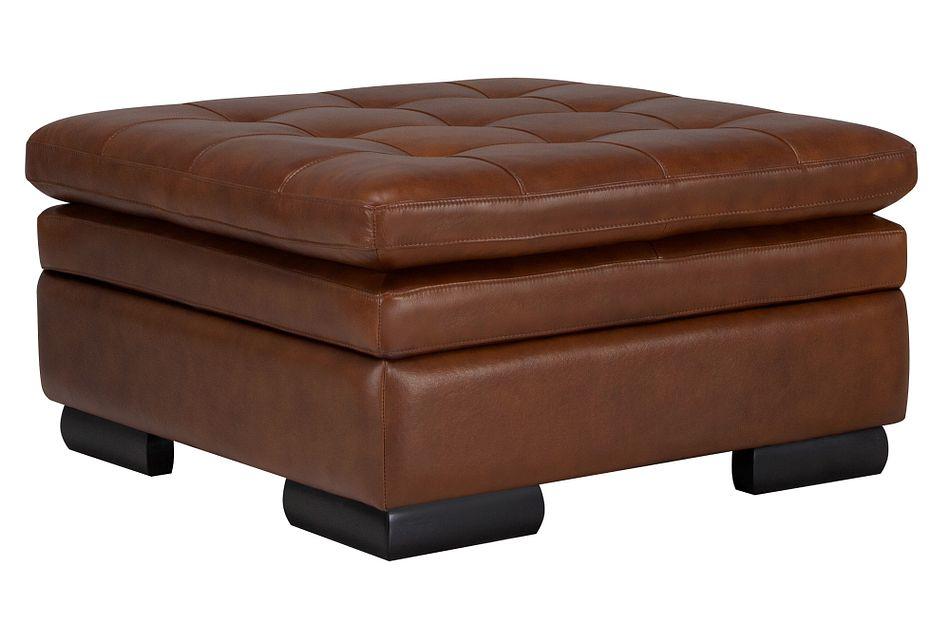 Trevor Medium Brown Leather Storage Ottoman