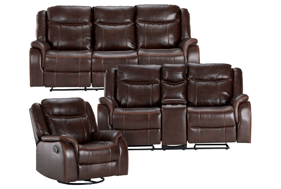 Lowe Dark Brown Micro Manually Reclining Living Room