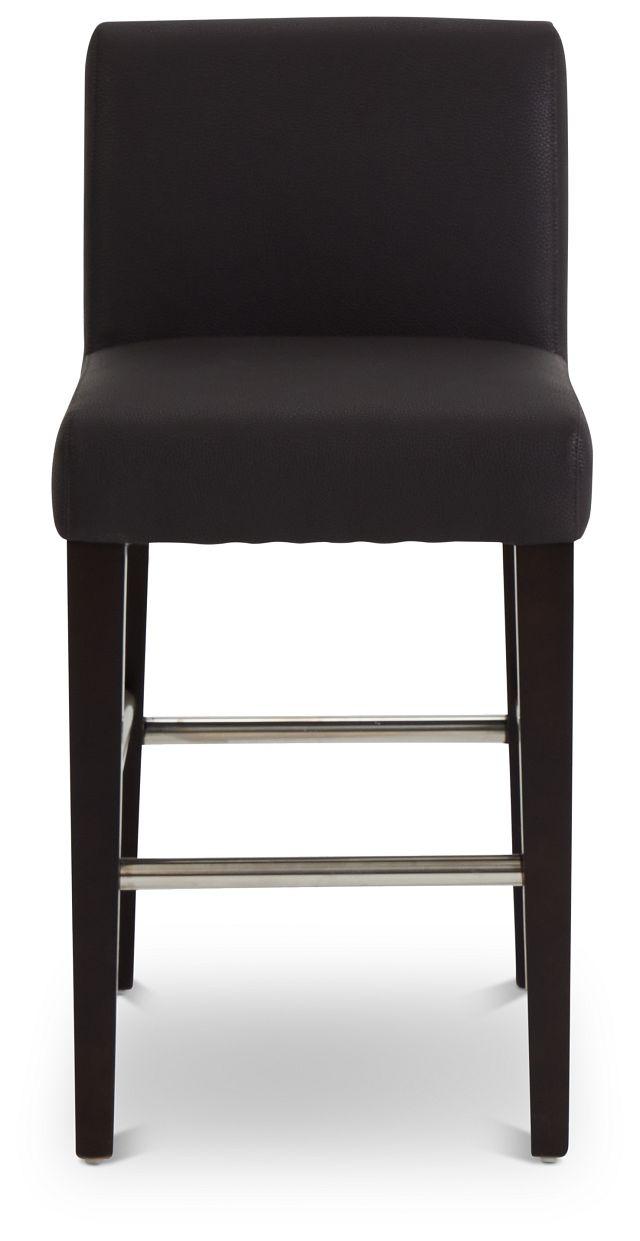 "Cane Dark Brown Micro 24"" Upholstered Barstool (3)"