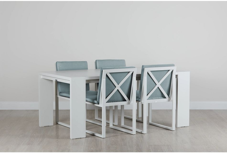 """Linear White TEAL 70"""" Aluminum Table & 4 Cushioned Side Chairs"""