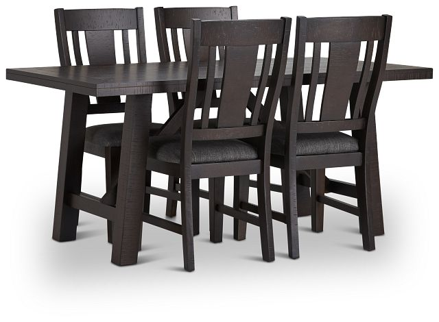 Cash Gray Rect Table & 4 Upholstered Chairs (1)