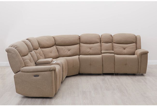 Calvin Taupe Micro Large Triple Power Reclining Two-arm Sectional