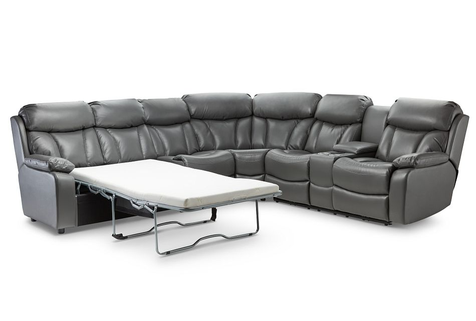 Dustin Gray Micro Medium Power Sectional W/ Left Sleeper