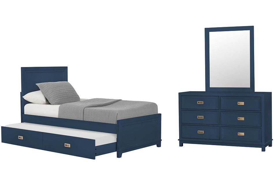 Ryder Dark Blue Panel Trundle Bedroom