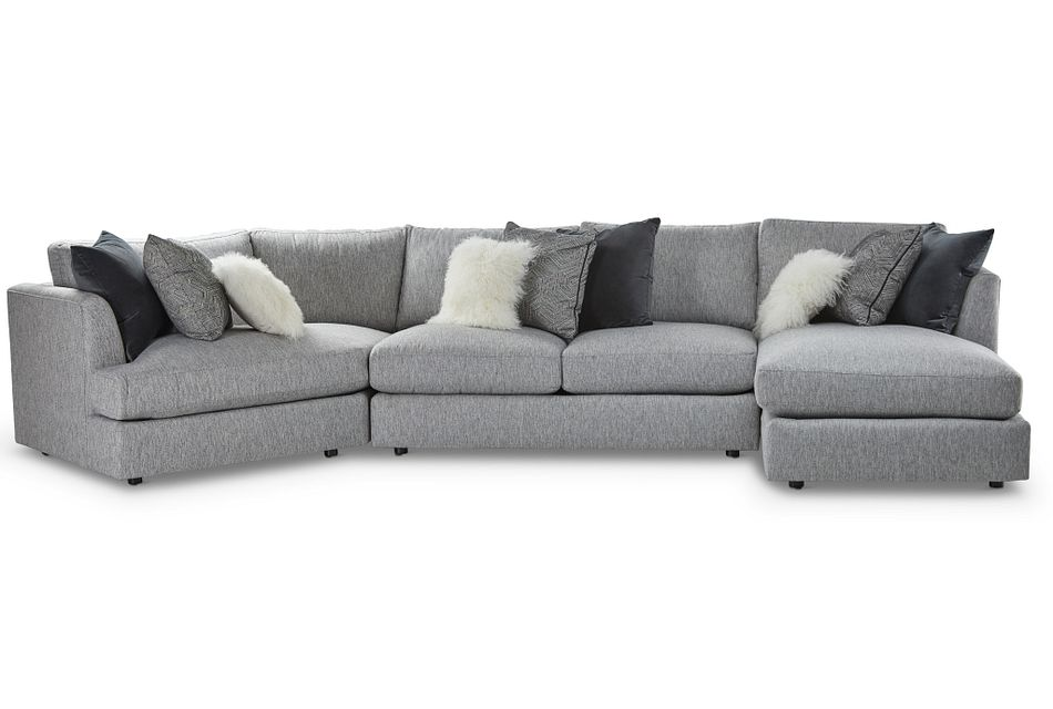 Sydney GRAY FABRIC Right Facing Chaise Cuddler Sectional
