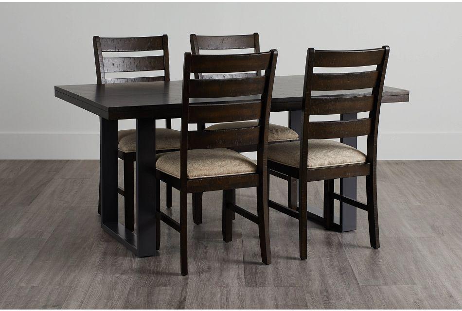 Sawyer Dark Tone Rect Table & 4 Wood Chairs