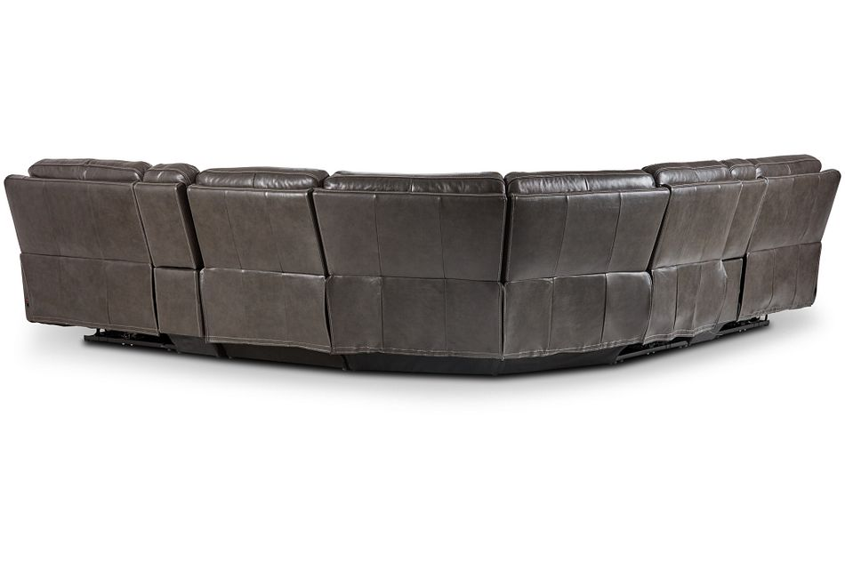 Valor Dark Gray Leather Large Triple Power Reclining Two-arm Sectional