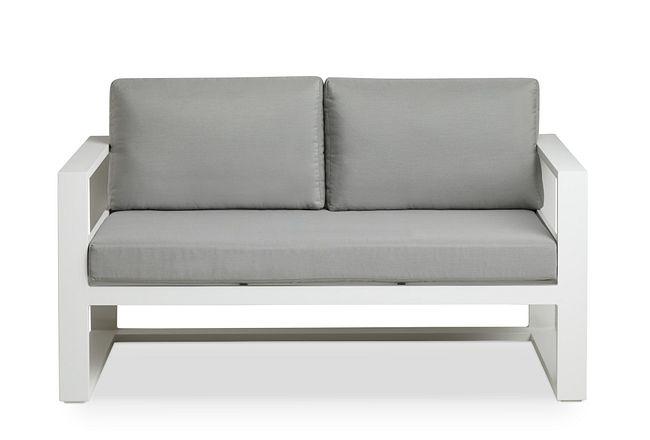Lisbon Gray Aluminum Loveseat