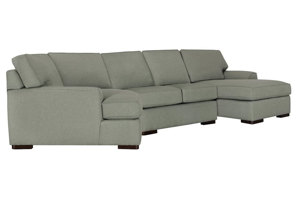 Austin Green Fabric Right Facing Chaise Cuddler Sectional
