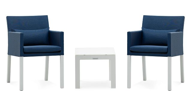 Lisbon Navy Cushioned Outdoor Chat Set (1)