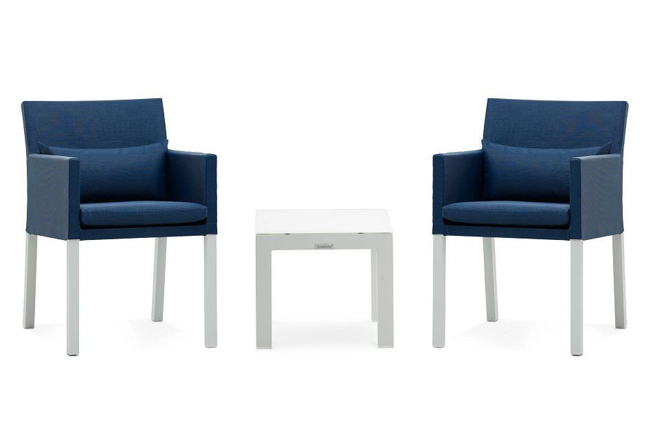 Lisbon Navy Cushioned Outdoor Chat Set