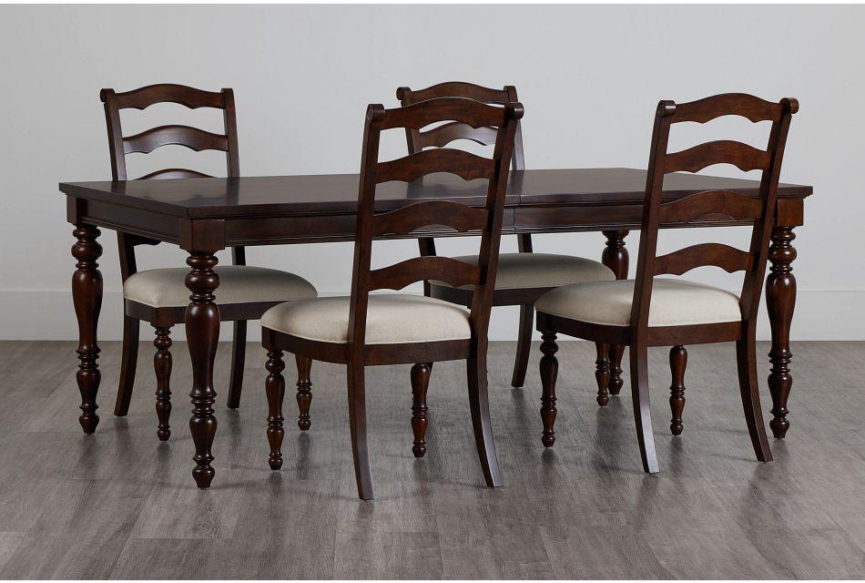 Savannah Dark Tone Rect Table & 4 Chairs,  (0)