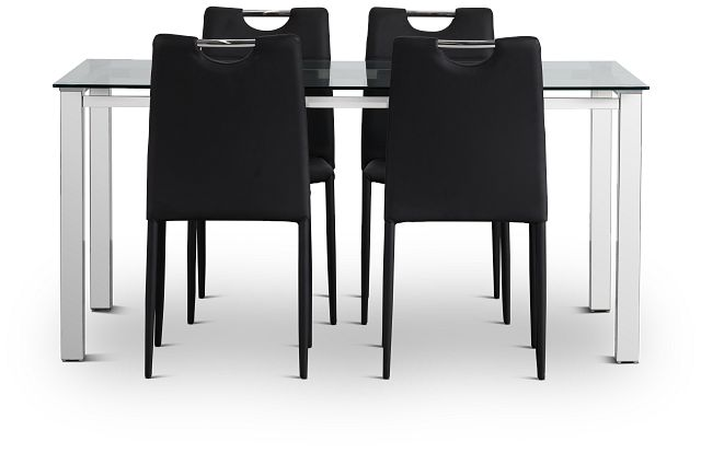 Skyline Black Rect Table & 4 Upholstered Chairs (3)