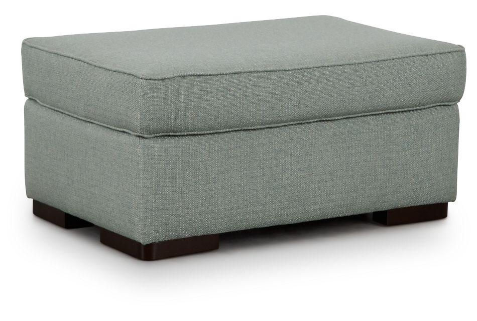 Austin Green Fabric Ottoman,  (1)