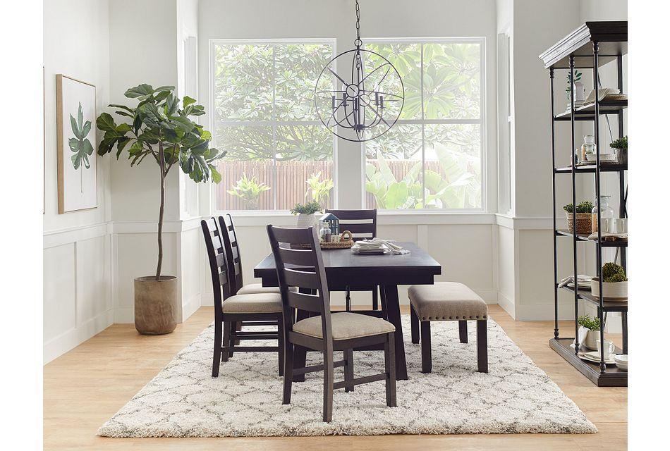 Jax Dark Tone Rect Table & 4 Wood Chairs,  (2)