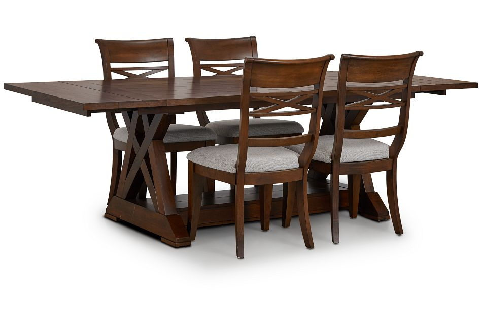Bloomington Dark Tone Rect Table & 4 Upholstered Chairs,  (2)