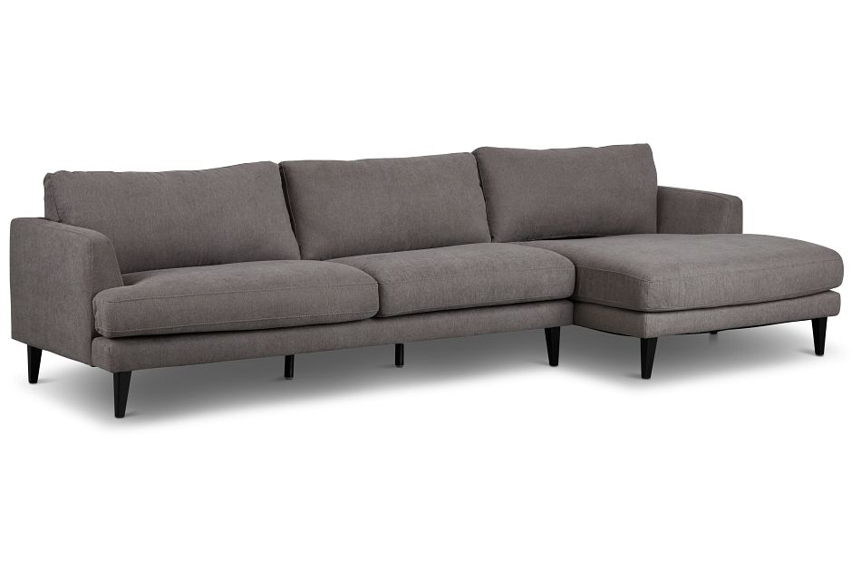 Fremont Gray Fabric Right Chaise Sectional