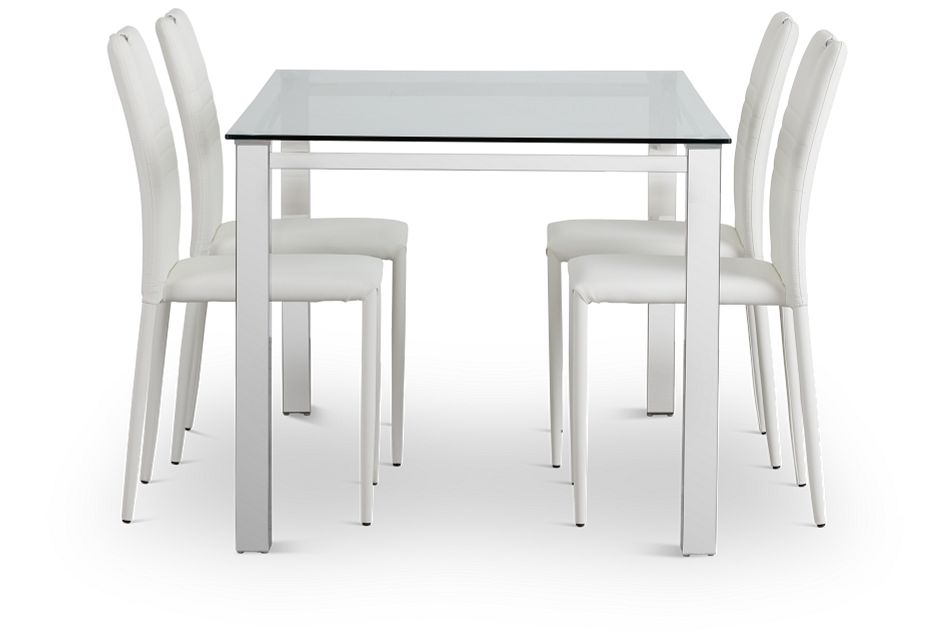 Skyline White Rect Table & 4 Upholstered Chairs,  (2)
