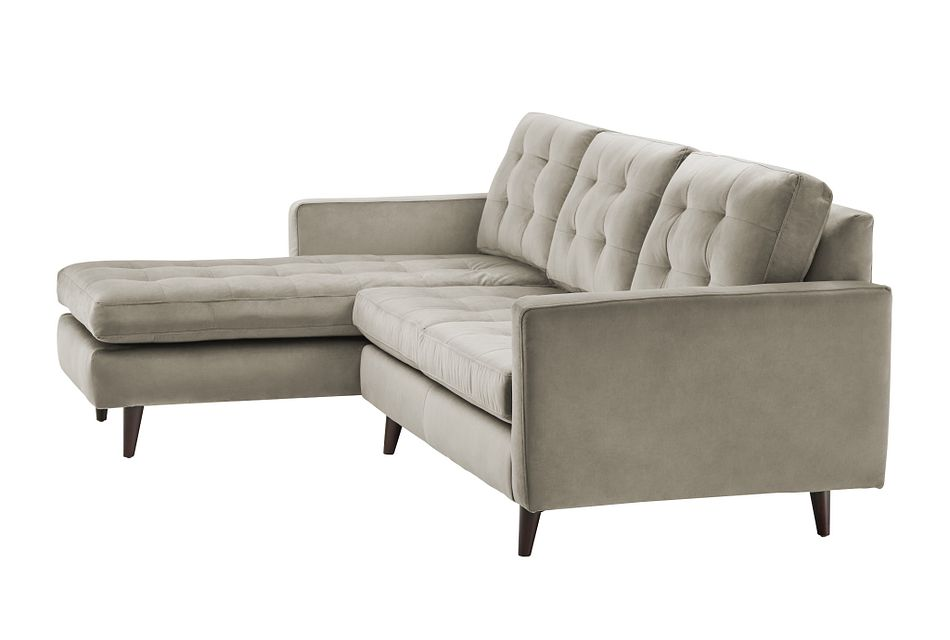 Mila Beige Velvet Left Chaise Sectional