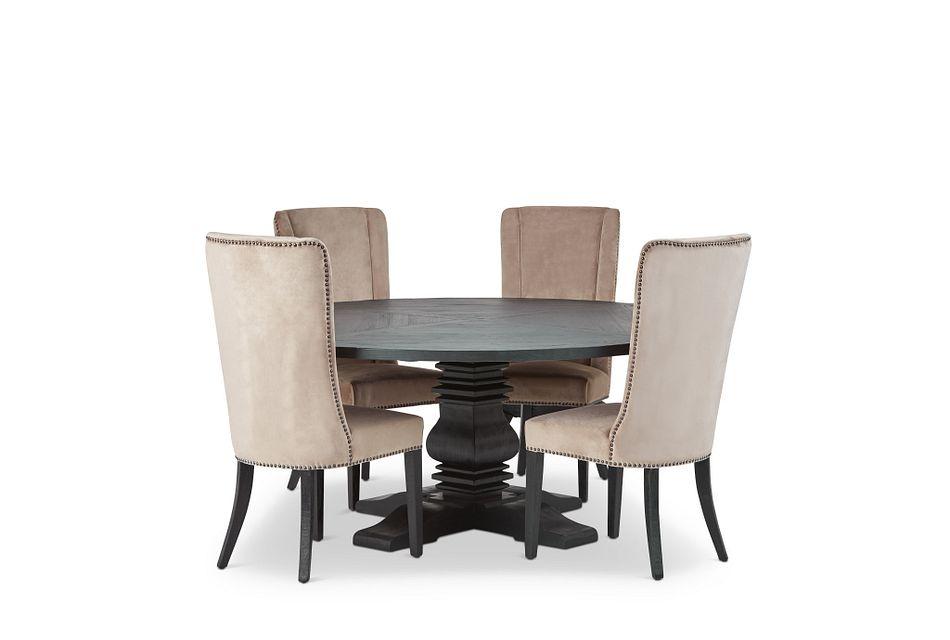 """Hadlow Black 72"""" Table & 4 Velvet Chairs"""