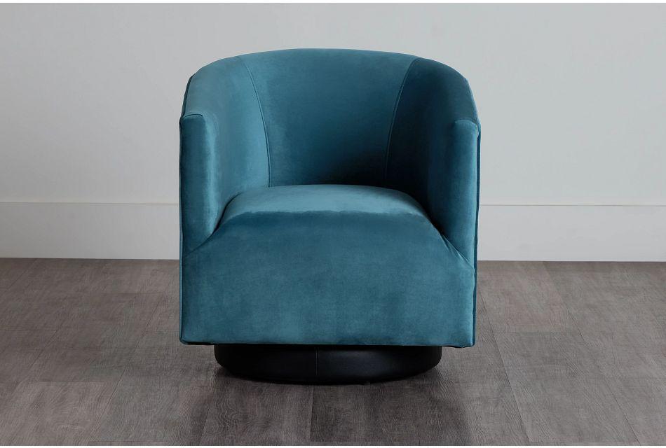 Charlotte Light Blue Velvet Swivel Accent Chair,  (0)