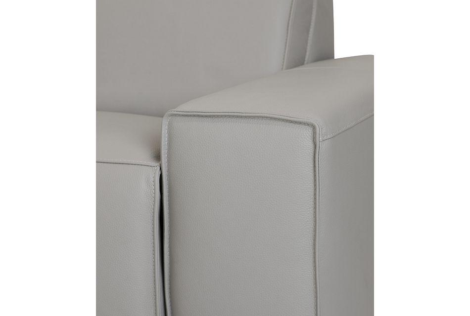 Carmelo Gray Leather Medium Triple Power 2-arm Sectional