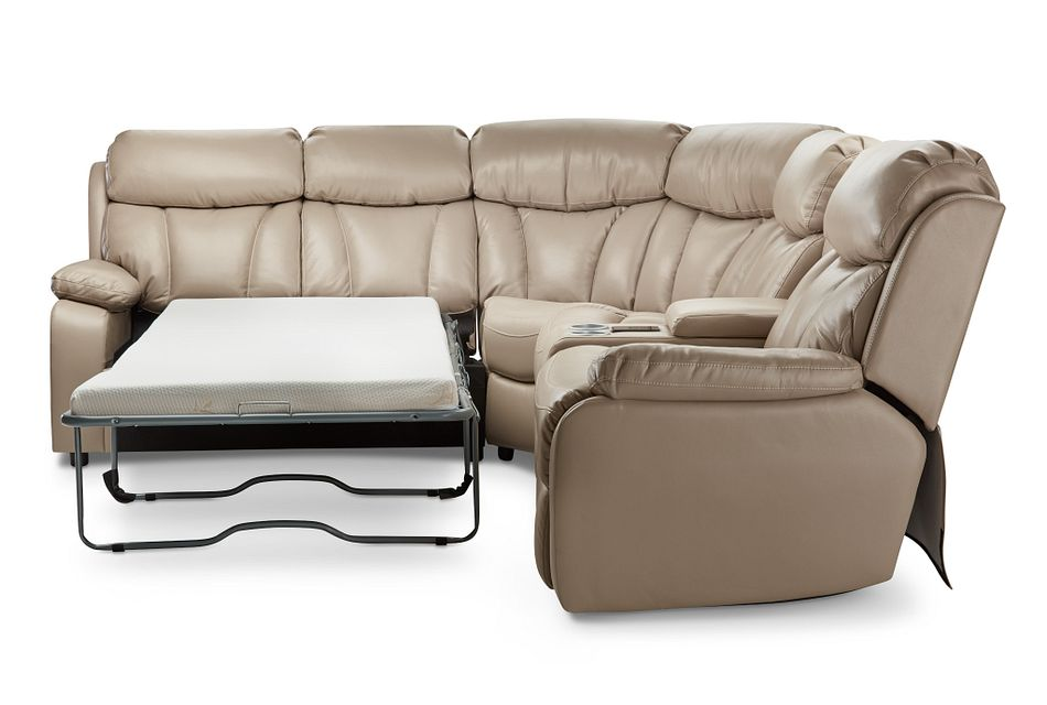 Dustin Beige Micro Small Power Sectional W/ Left Sleeper
