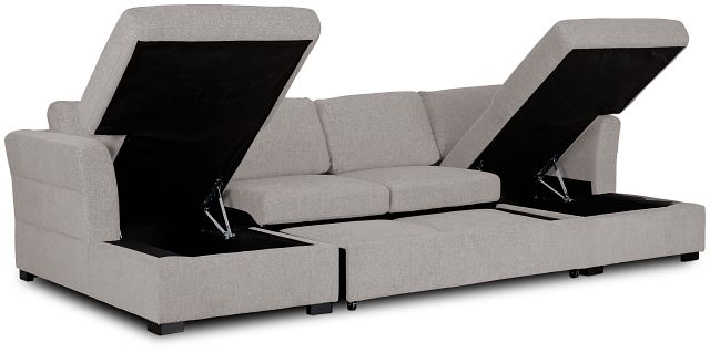 Amber Light Gray Fabric Double Chaise Sleeper Sectional (3)
