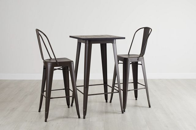 Harlow Dark Tone Pub Table & 2 Metal Barstools (0)