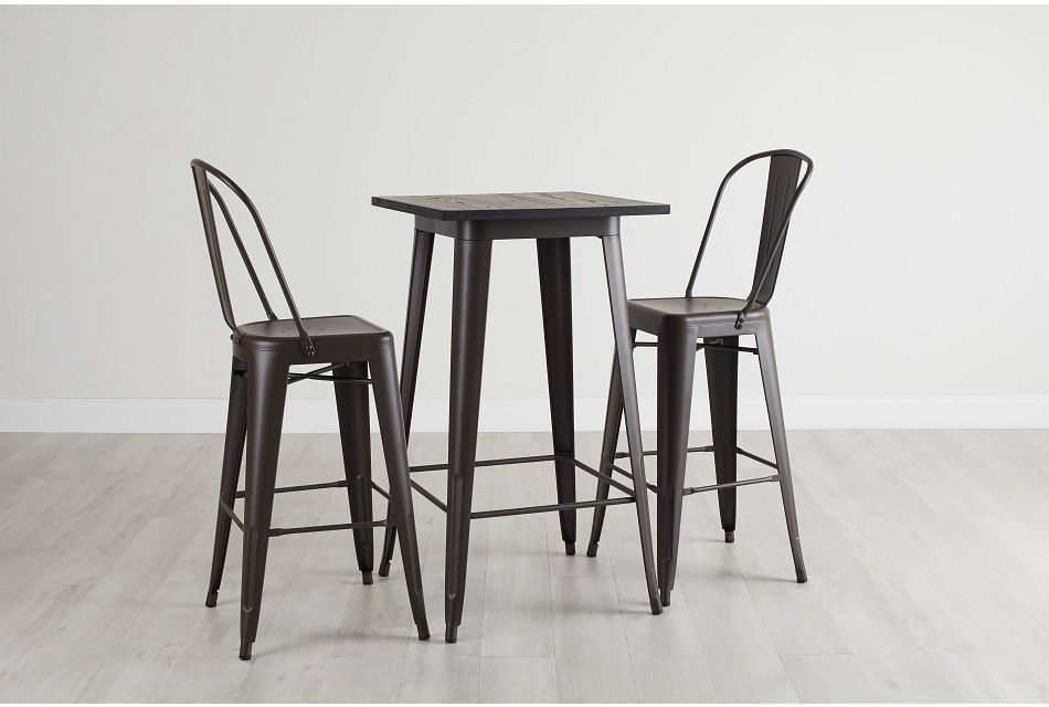 Harlow Dark Tone Pub Table & 2 Metal Barstools
