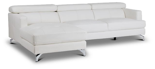 Marquez White Micro Left Chaise Sectional (1)
