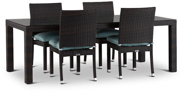 "Zen Teal 84"" Rectangular Table & 4 Chairs (0)"