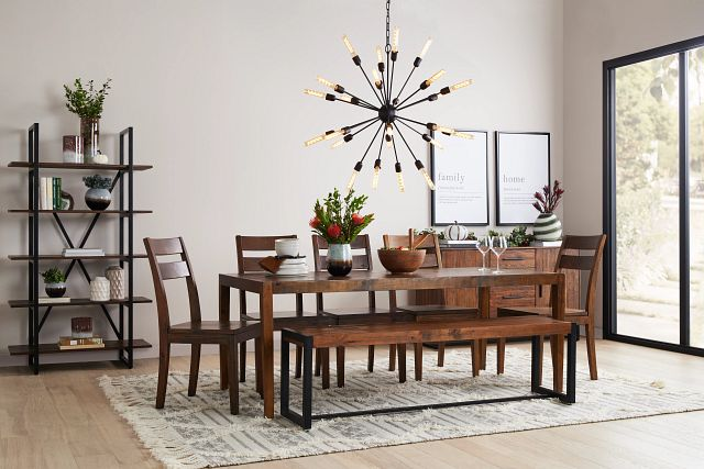 Chicago Dark Tone Rect Table & 4 Wood Chairs (0)