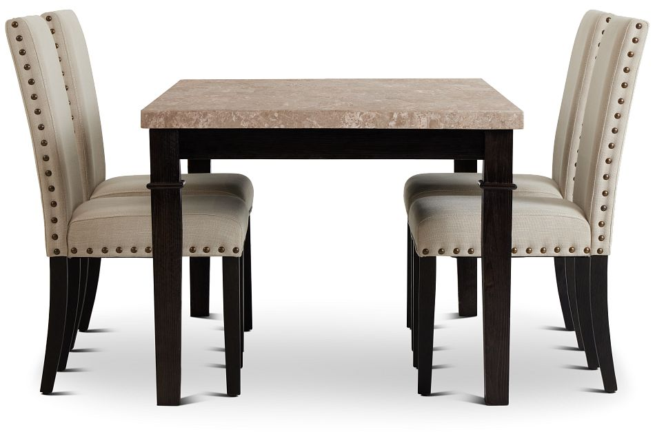 Portia Dark Tone Marble Table & 4 Upholstered Chairs,  (2)