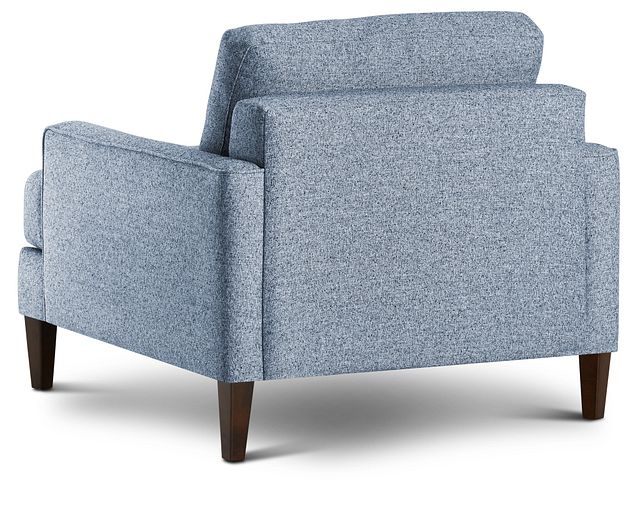 Morgan Blue Fabric Chair With Wood Legs