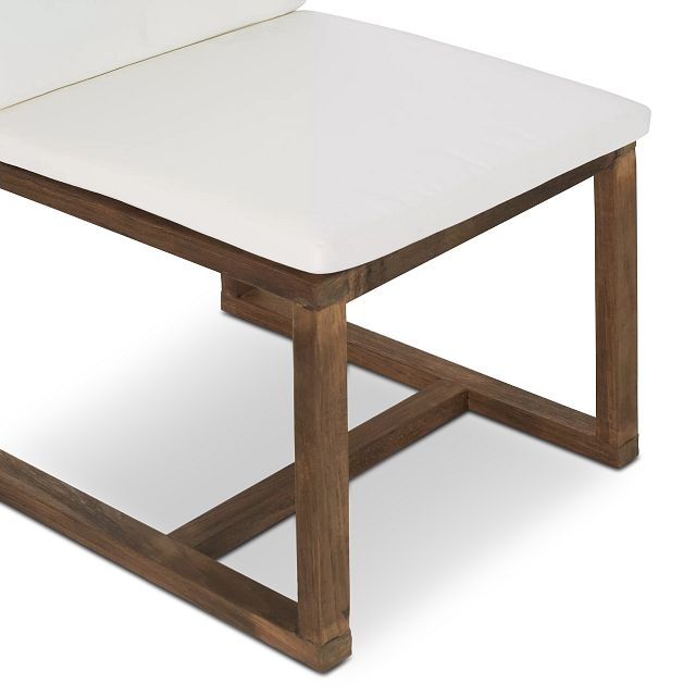 """Linear Dark Gray White 110"""" Aluminum Table & 4 Teak Cushioned Side Chairs"""