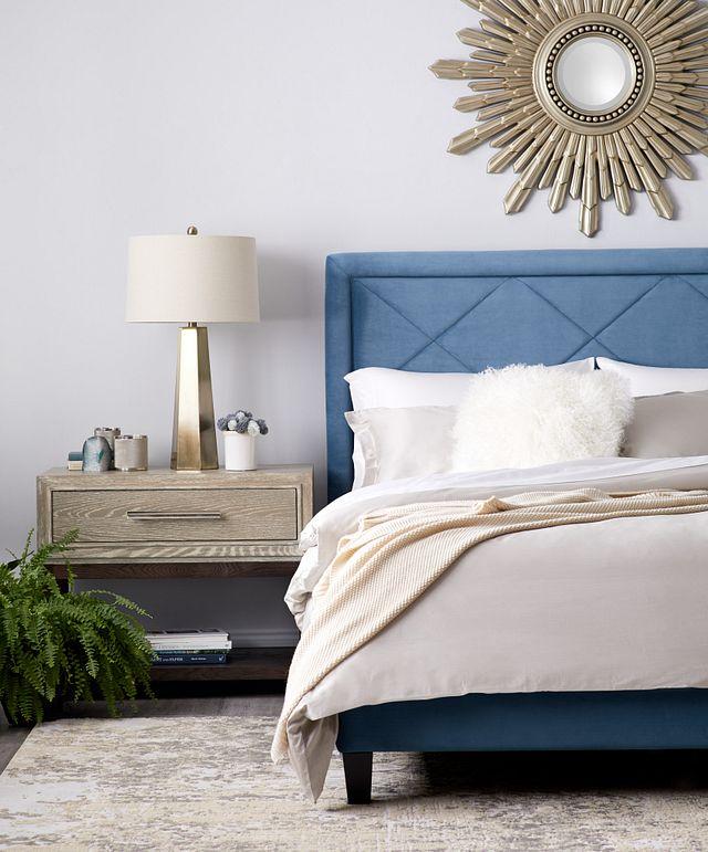 Collin Blue Velvet Platform Bed (2)