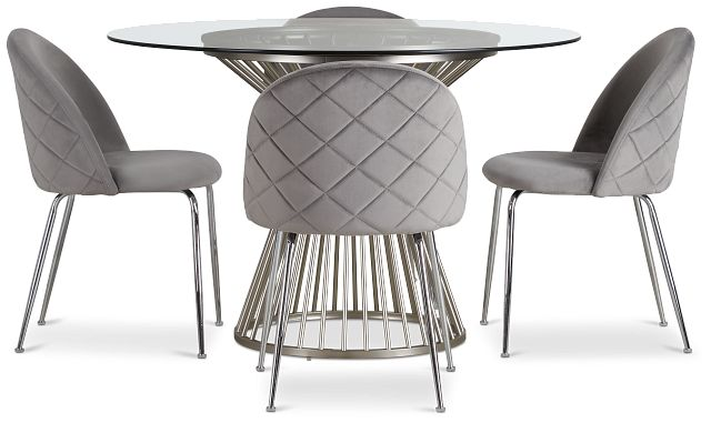 Munich Silver Glass Table & 4 Gray Upholstered Chairs (2)